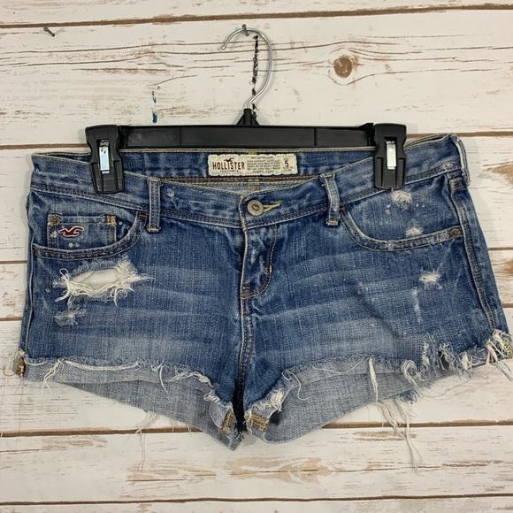 Reasonable Hollister Size 1 Denim Shorts Distressed Raw Hem Light Wash Clothing, Shoes & Accessories